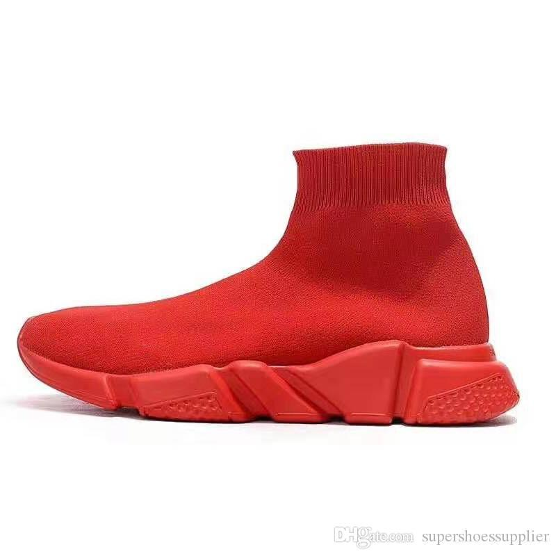 2019 Top Quality Speed Trainer Socks shoes for men women Triple black white red Casual shoes Fashion Designer Sneakers ankle boot