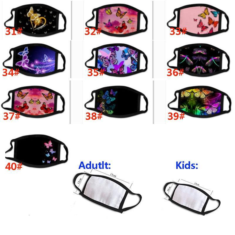 New Kids Face Mask For Adult Children Personality Butterfly Mask Fashion 3D Printing Anti-dust Breathable Washable Mask HH9-3112