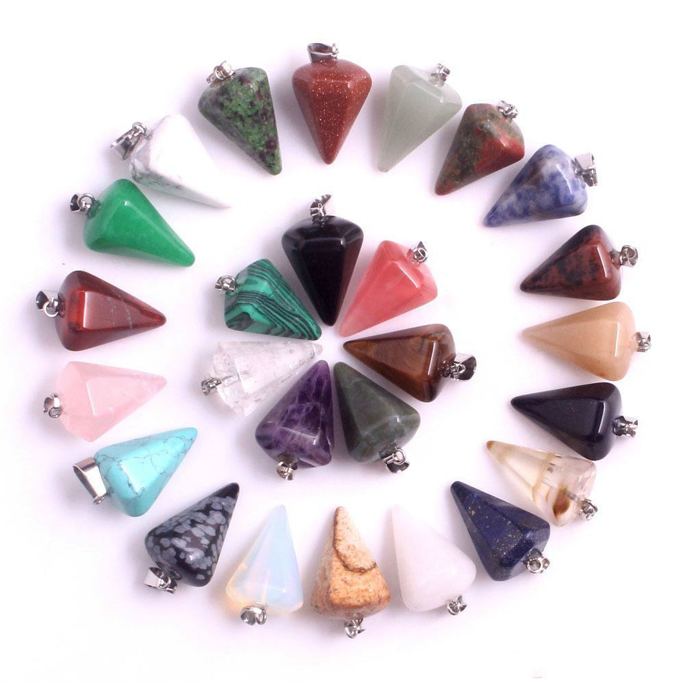Bulk Natural stone Pendant Hexagonal prism Bullet Quartz Point Healing Crystals Chakra Cross Heart charm For Necklace Jewelry Making