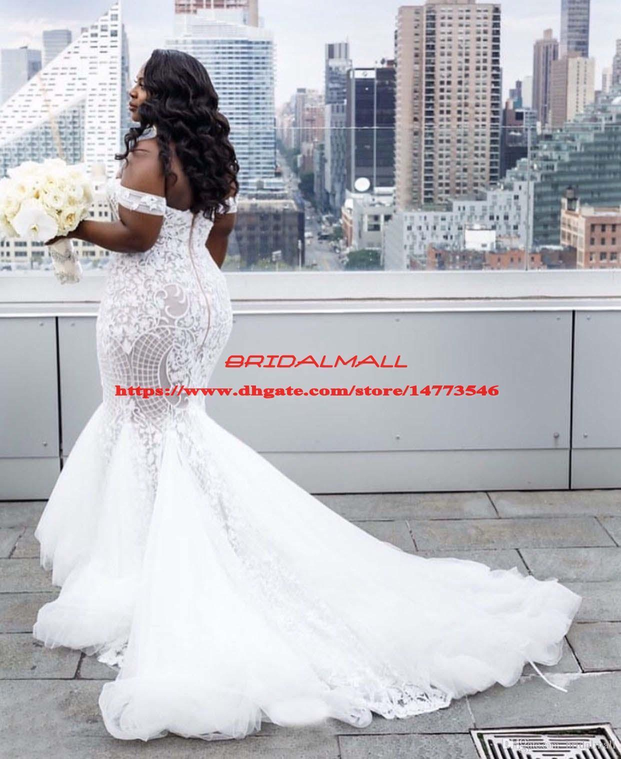 Plus Size Mermaid Wedding Dresses 2020 Off The Shoulder Trumpet Bridal Gowns Sweep Train Tulle Lace African Wedding Dress Vestidos De Novia