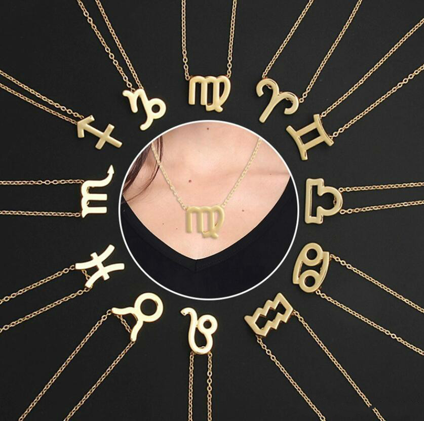 Gold Silver Stainless Steel Star Zodiac Sign Neckless 12 Constellation Pendant Necklace Women Gold Chain Necklace Men Jewelry gift