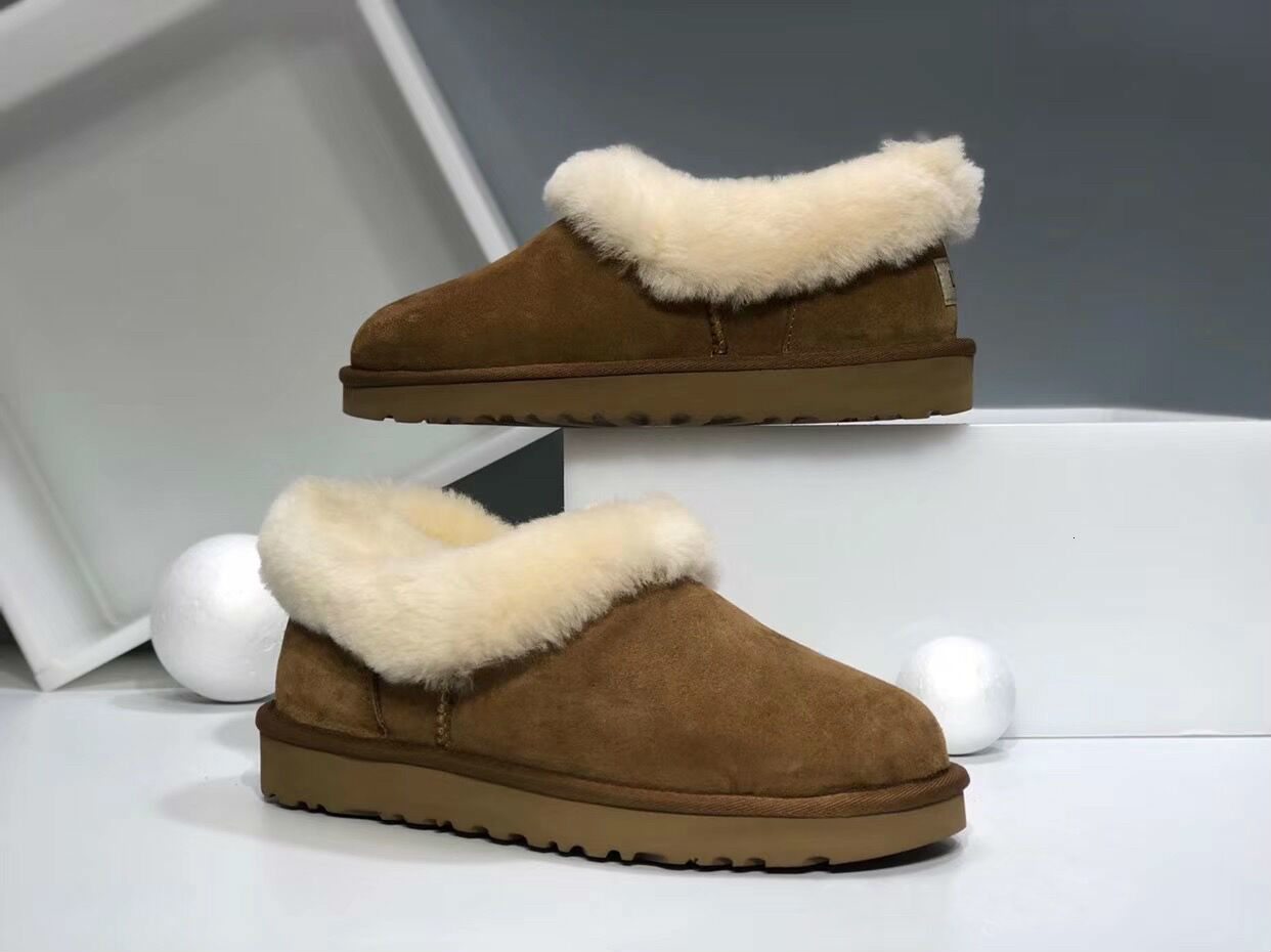 TOP Quality Wool skin Genuine Wool Winter Slippers Boots Women Plush Home Shoes Fur Warm Comfort Indoor House Use Slippers size 36-40