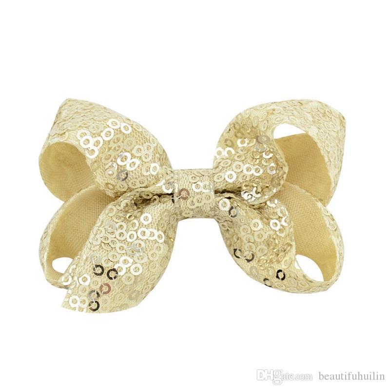 Girls 3.15 Inch Sequin Hair Bows With Clips Bling Shining Hairpins Hair Clip Barrettes Headwear Beautiful HuiLin C194