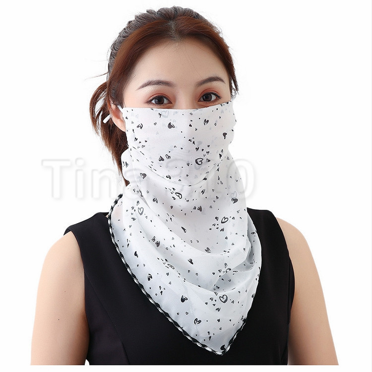 Women Scarf Face Mask Chiffon Handkerchief Windproof Half Face Dust-proof Sunshade Masks Dust Mask Party masks T2I51123