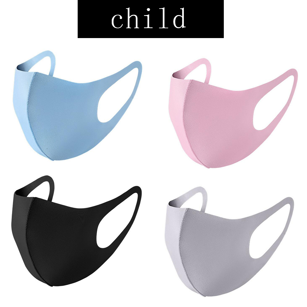 Mouth Ice Mask Anti Dust Face Cover PM2.5 Respirator Dustproof Anti-bacterial Washable Reusable Ice Silk Cotton Masks Adult Child In Stock