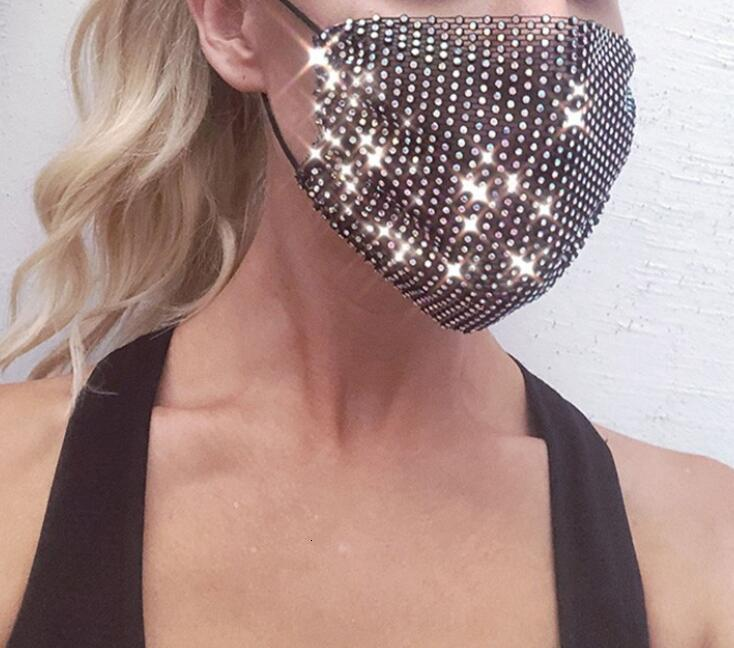 Glitter Crystal Mesh Mouth Face Mask Rhinestone Hollowout Masks Women Decor Night Club party Dance Decor Face Cover