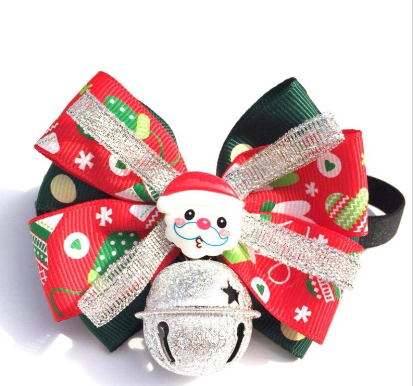 Christmas pet bow tie Santa style bell collar dog and cat pet Christmas cute decoration bow tie DHLFree shipping