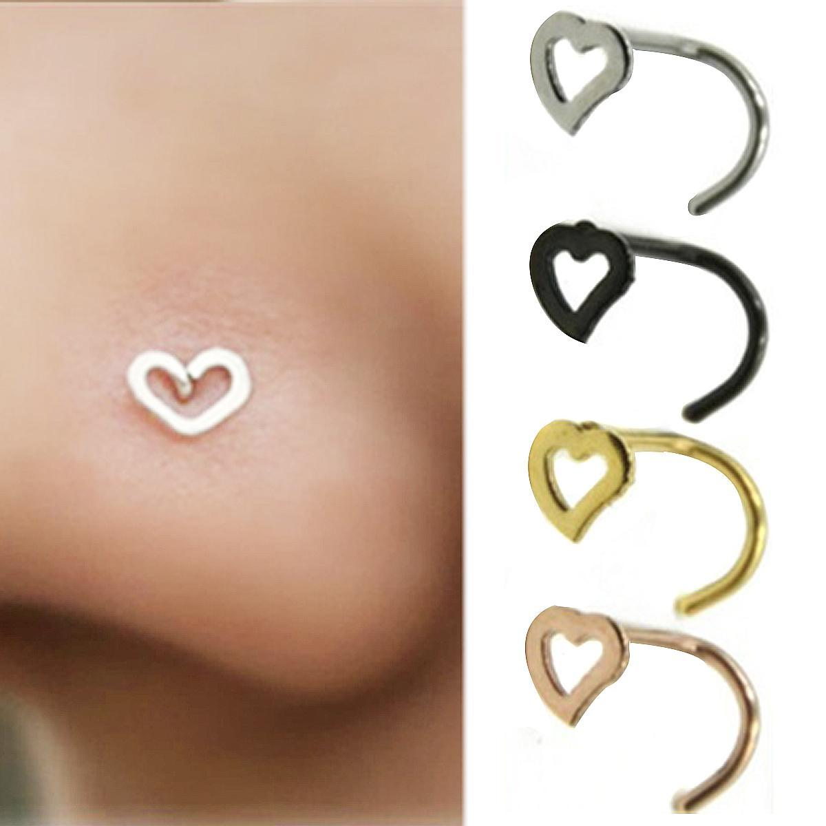 1pcs Shellhard Cute Hollow Heart Shaped Nose Ring Studs For Women Body Piercing Jewelry Accessories Vintage Fake Nose Ring