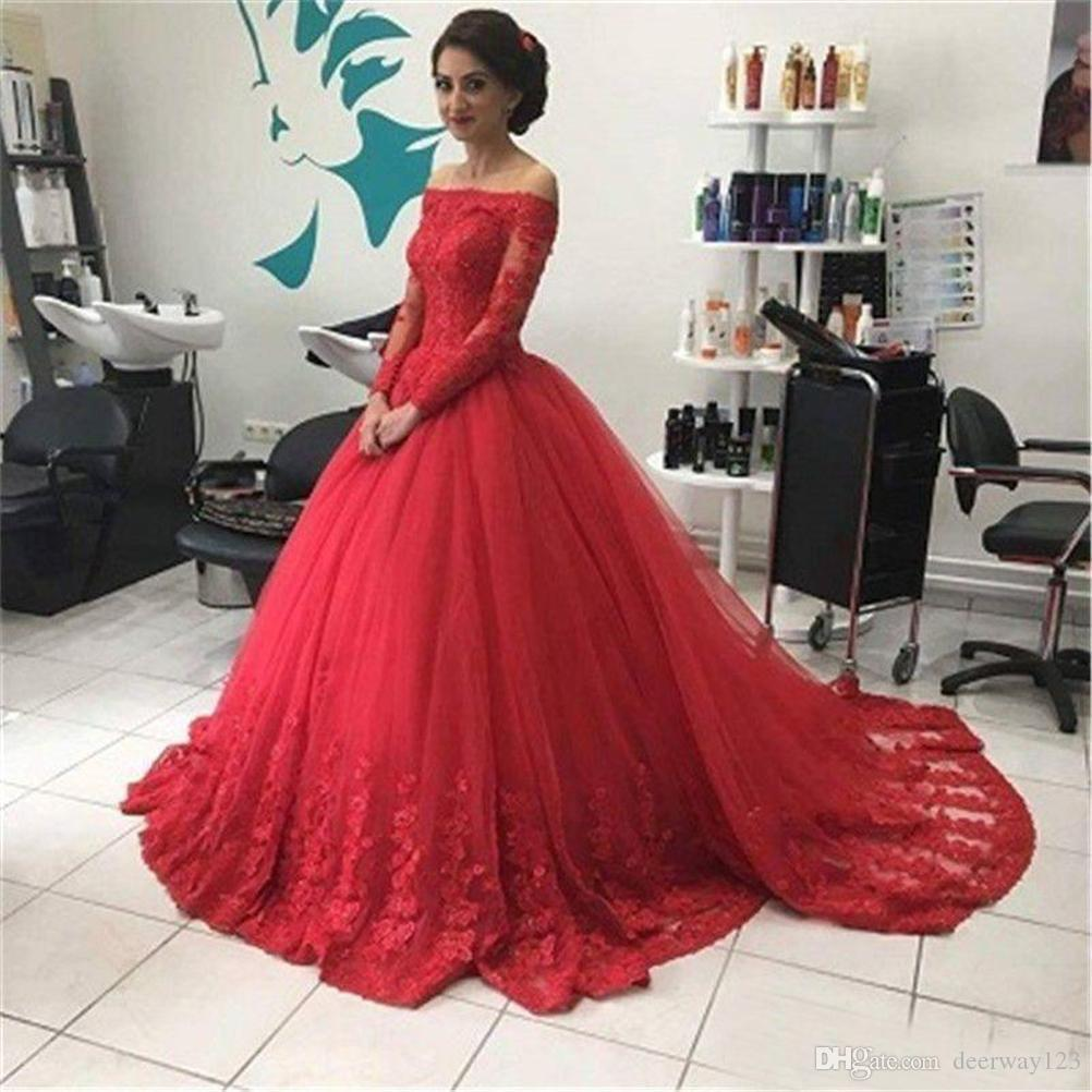 Boat Neck Long Sleeves Ball Gown Appliques Tulle Formal Prom Dress New Red Evening Dresses Vestidos de festa