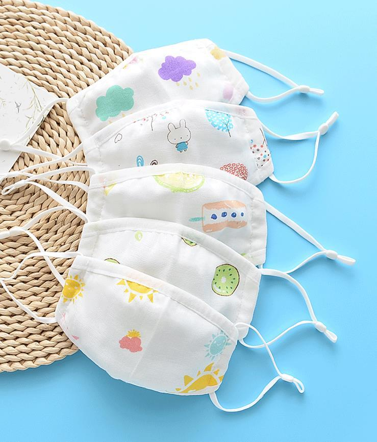 Cotton voile Face Mask Summer Soft 4 layers Gauze Mouth Covers Anti Dust Windproof Masks for Tollder Kids Children Adults S M L cute prints