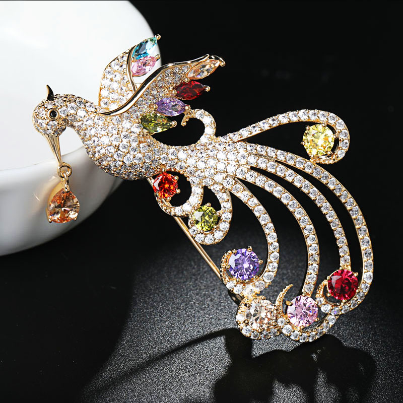 Mariée élégante Peacock Bird Clair Strass Cristal Mariée Demoiselle D/'honneur Broche Pin
