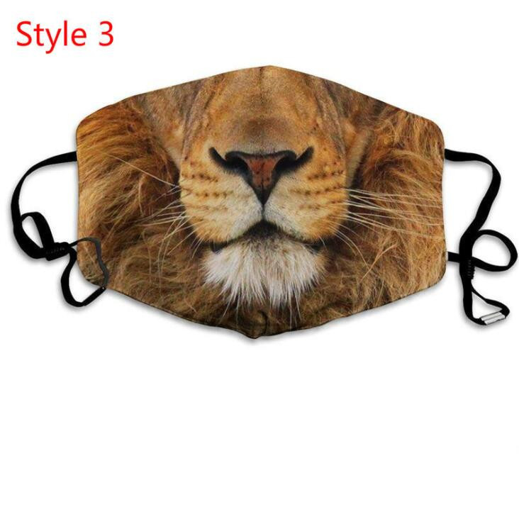 Masks 3D-Print Funny Face Mask Protective Ear-hanging Covering Animal Print Washable Reusable Mouth Mask Adult Unisex Design Masks LSK459
