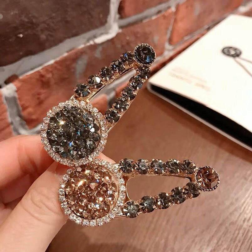 INS crystal women hair clips fashion rhinestone women designer hair clips Bling Barrettes hair accessories for women BB clip B1777