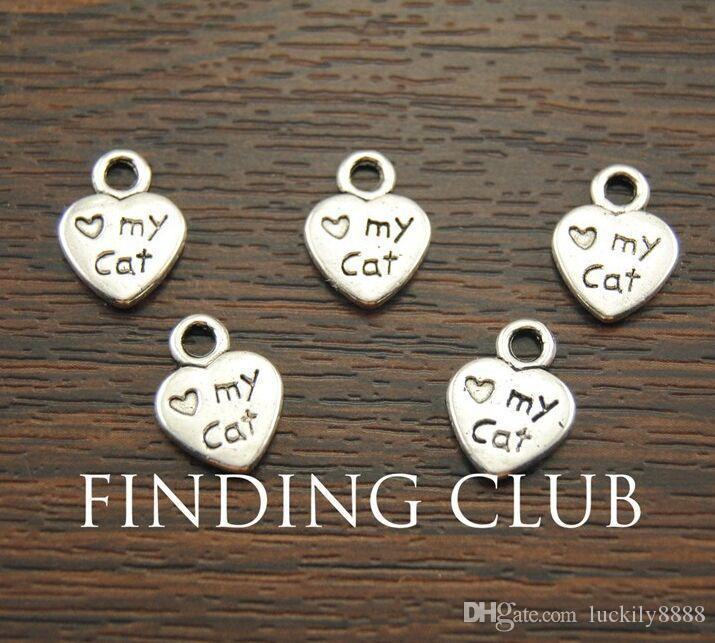 Antique Silver Plated Zinc Alloy heart love my cat Charms Pendants Metal for Jewelry Findings DIY 9x12 mm