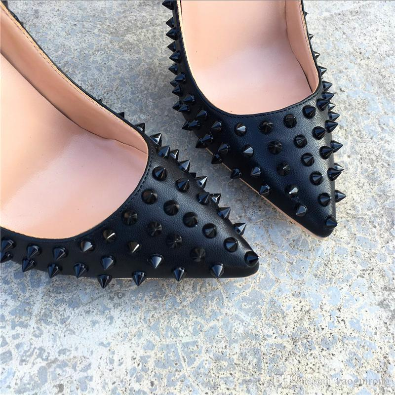 Brand black rivets with fine pointed high heels, fashionable sexy party shoes, custom made 34-45 yards women's shoes.