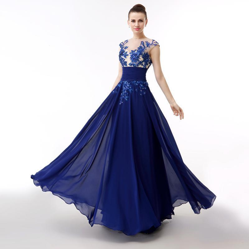 Jewel Neck Long Chiffon Evening Dress With Appliques 2016 Backless Evening Gowns Floor Length Party Gowns