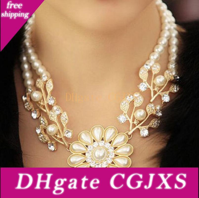 Collar de mujer Orquídea Flor Perlas De Encanto Colgante Collares de cadena larga