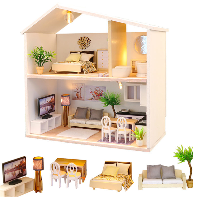 TOYANDONA Mini Bunk Bed 1//12 Dollhouse Furniture Miniature Home Bedroom Kids Pretend Toy Handcraft Gift Dollhouse Collection