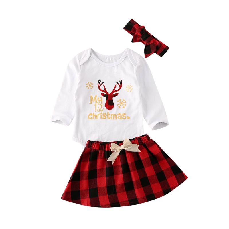 Toddler Baby Girl Long Sleeve T-Shirts Tops Suspender Skirt Set Headband Plaid Overall Dress Fall Winter Clothes Outfits