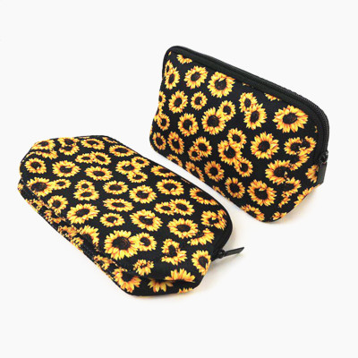 Neoprene Cosmetic Bag Waterproof Makeup Bags Floral Baseball Plaid Print Handbag Totes Travel Toiletry Portable Storage Bag Coin Purse