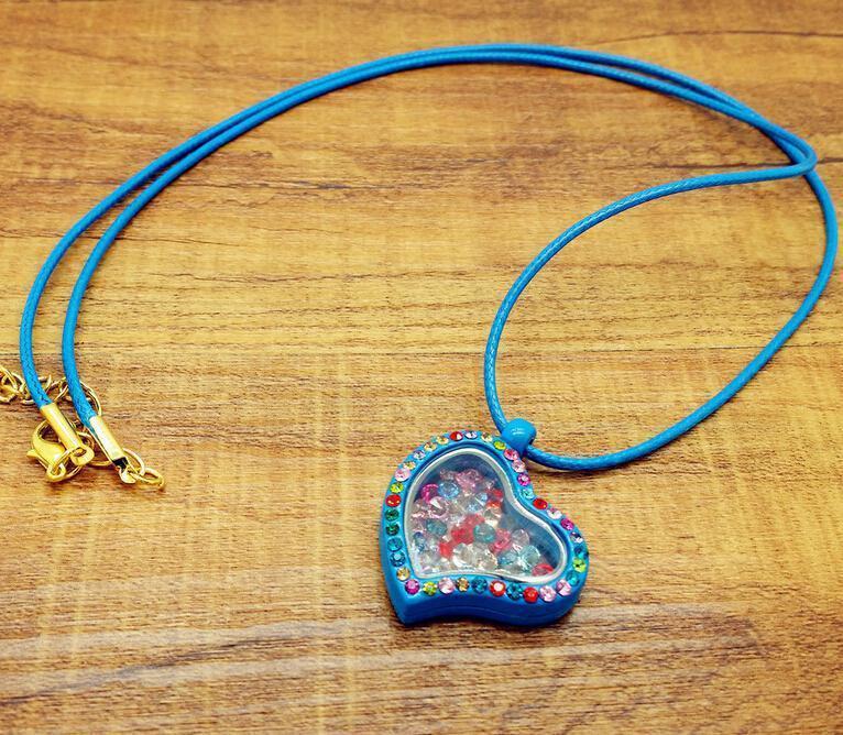 2017 Fashion Living Memory Floating Heart Locket Pendant Necklace 30mm free Charm Necklaces & Pendants
