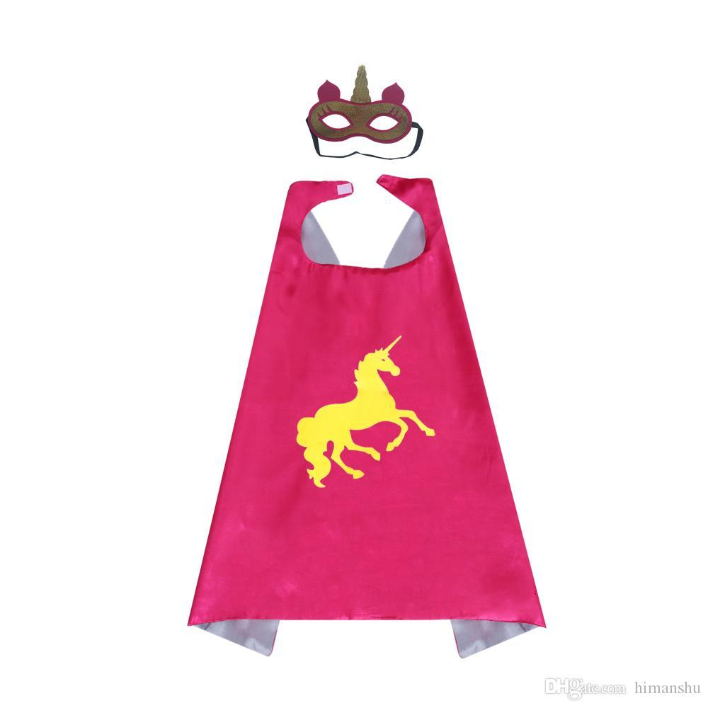27inch Kids Superhero Unicorn Capes and Masks Double Layer for Girls Rainbow Birthday Party Favors 3 Pack