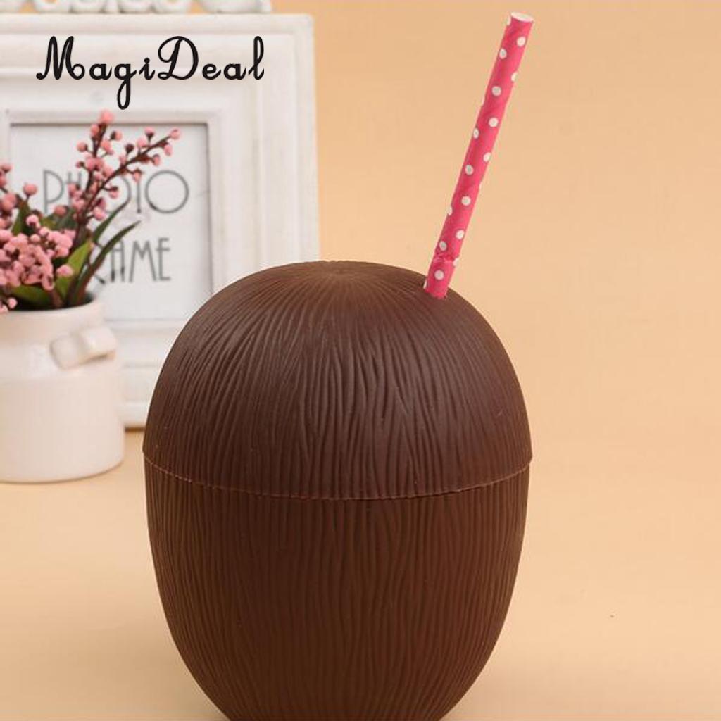 MagiDeal 24pcs/Lot Pineapple Coconut Drink Cup Straw Tropical Hawaiian Luau Beach Party Decoration
