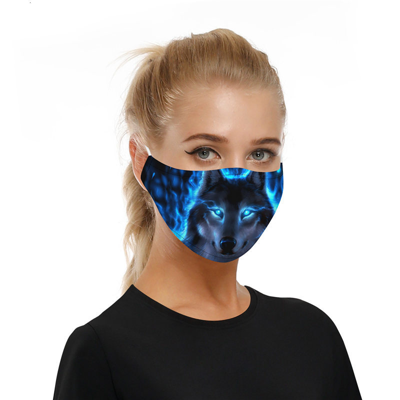 Face Mask cat Wolf Outdoor Masks Party printing Spot PM2.5 cotton mouth Face Mask detachable filter Animal mask + filter