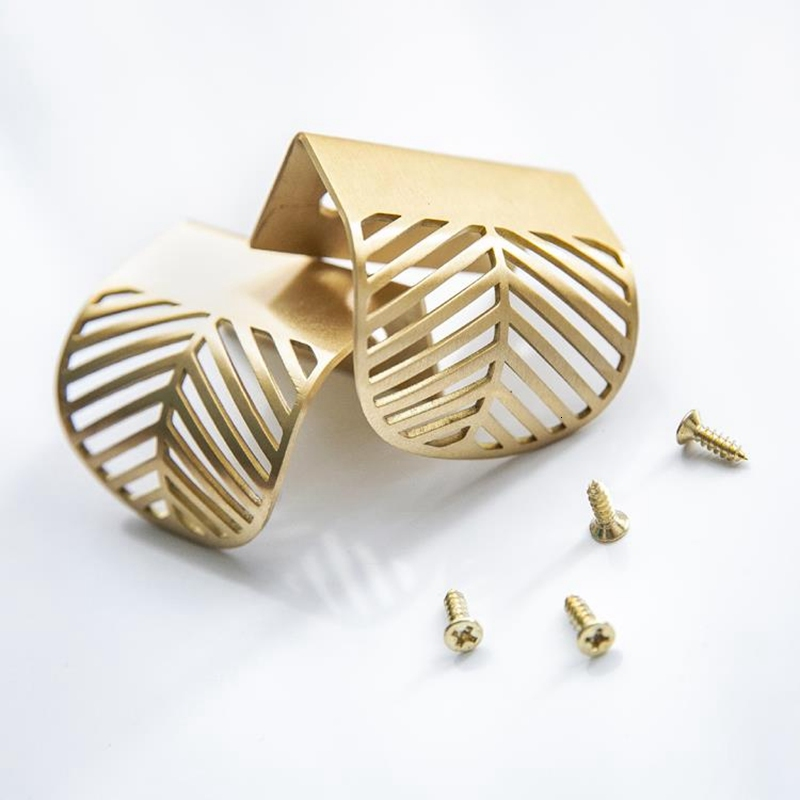 Solid Brass Kitchen Cabinet Knob and Handle Invisible Leaf Shape Golden Wardrobe Drawer Cupboard Pull Furniture Handle