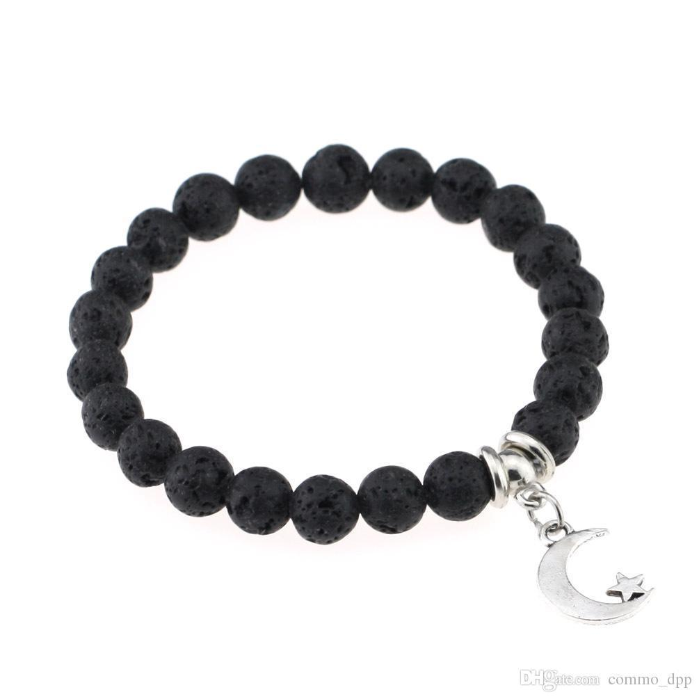 Hot Lava Rock Beads Bracelets Rudder tree cross feather star charm Black natural stone stretch Bracelet For women&men Fashion Crafts Jewelry