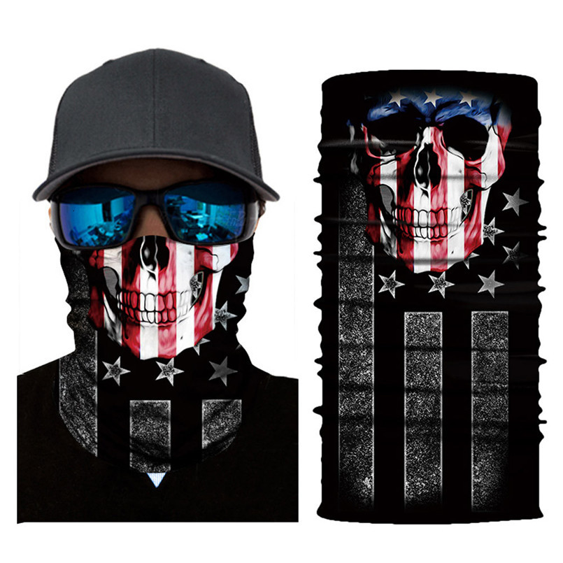 Skull Face Mask Scarf Halloween Party Face Mask Bike Face Mask Ghost Balaclava Masks Cycling Motorcycle Head Scarf Neck #F30ST02 (1)