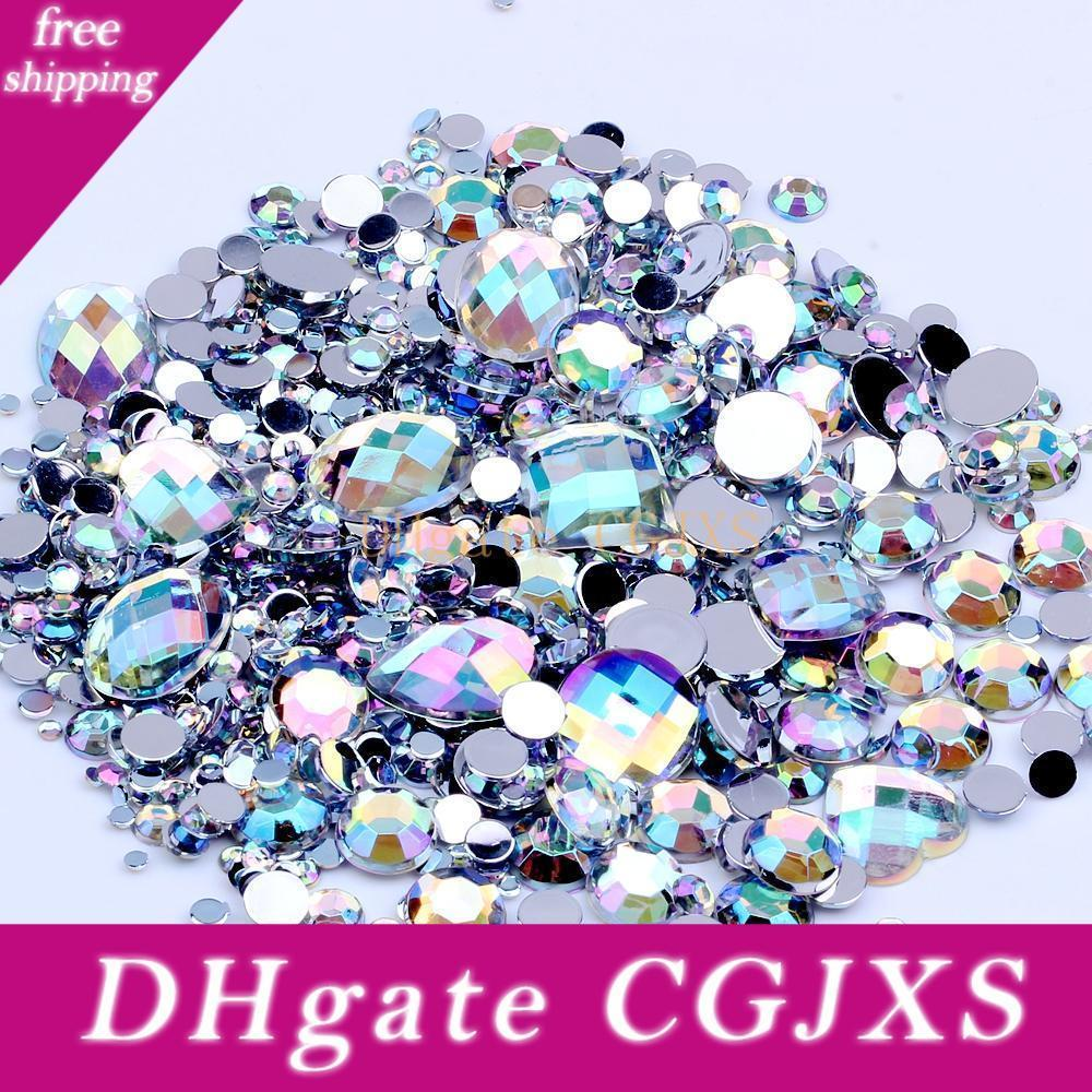 5g x 3D Nail Art 1mm Round Rhinestones Mixed Flat Back Embellishments Gems Tip