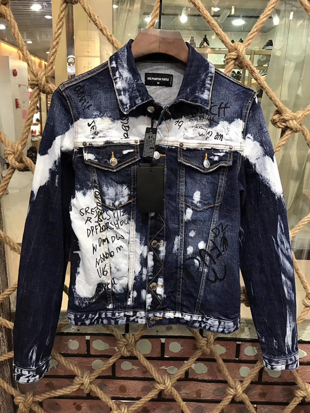 DSQ denim Jacket men coat dark Blue Casual Denim Jacket cotton Turn-down Collar Long Sleeve Denim Bomber jackets for man 98365