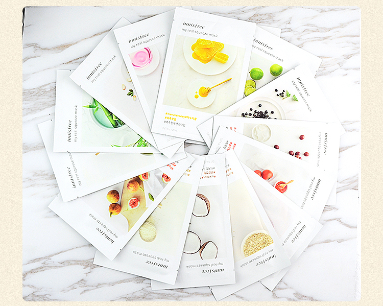 INNISFREE Facial Mask Squeeze Mask Sheet Moisturising Face Skin Treatment Oil-control Facial Mask Peels Skin Care Pilate via Fedex DHL