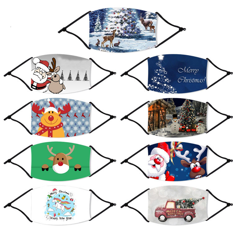 US Stock!Cartoon Mask Print Adults Mouth Masks Ice Silk Anti-Dust Masks Breathing PM2.5 Face Mask Cover Christmas Party Masks FY4224