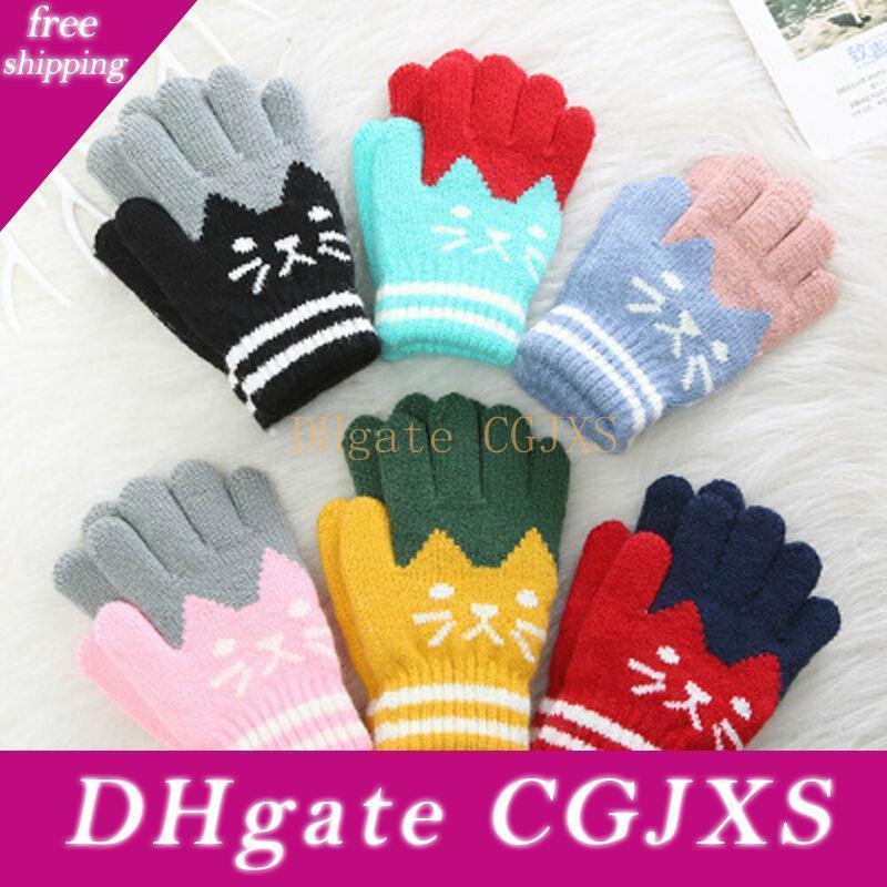 1 Pair Cartoon Fox Warm Knitted Gloves Wool Thick Plush Mitten Baby Winter Care