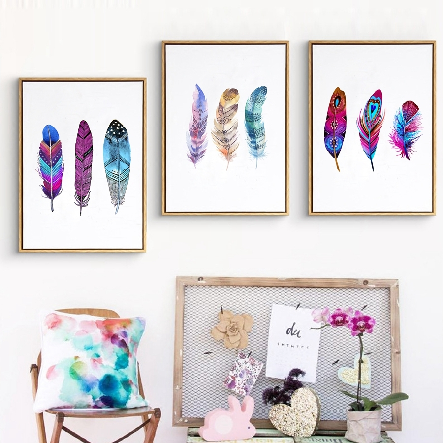 Watercolor-Colorful-Feather-Canvas-Art-Print-Poster-Hand-Drawn-Feathers-Native-Painting-Wall-Pictures-For-Home (4)