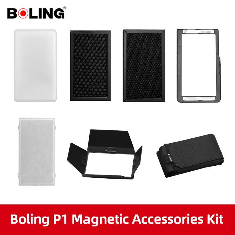 bolsa de transporte le permite tener m/ás efectos de luz diferentes panal difusor suave BOLING BL-P1 LED Accesorios de luz de v/ídeo con puerta de granero