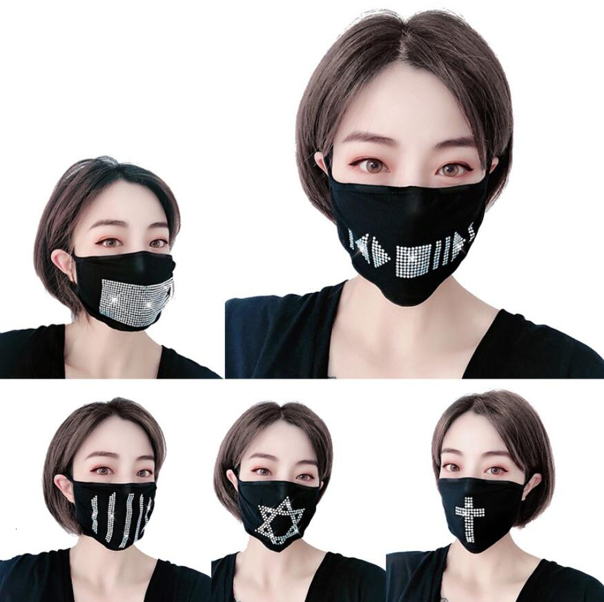 Bling Bling Rhinestone mask Anti-Dust Cotton Mouth Face Mask Unisex Health Cycling Wearing Black Fashion High Quality Mouth-muffle