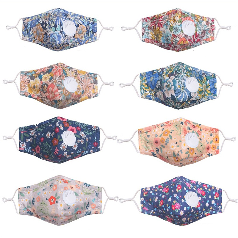 Printing Florets Mascherine Cotton With Valve Custom Mouth Face Masks Fashion Folding Respirator Washable Reusable Dustproof 4 7zp C2