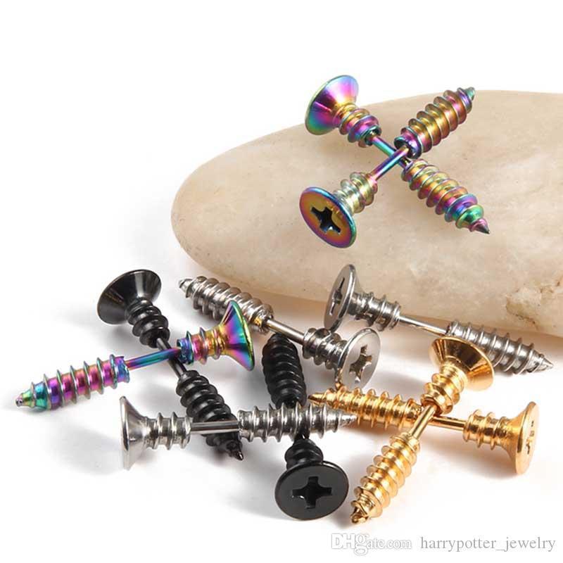 Steampunk Screw Stud Earrings Fashion Design Stainless Steel Body Piercing Ear Stud for Men Women Anti Allergic drop shipping