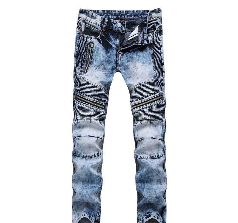 Newsosoo Casual Motocycle Men Jeans Slim Fit Bike Pleated Denim Pants Trousers For Male Straight Washed Multi Zipper jeans pants10