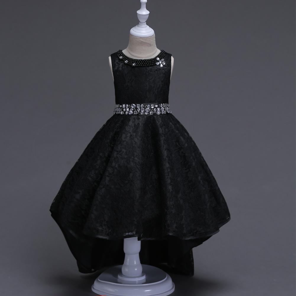 langer princess schwarz rot perlenstickerei spitze  junior-blumen-mädchen-kleid-kleider für brautkleider erstkommunion kleider