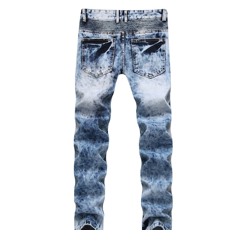 Newsosoo Casual Motocycle Men Jeans Slim Fit Bike Pleated Denim Pants Trousers For Male Straight Washed Multi Zipper jeans pants11