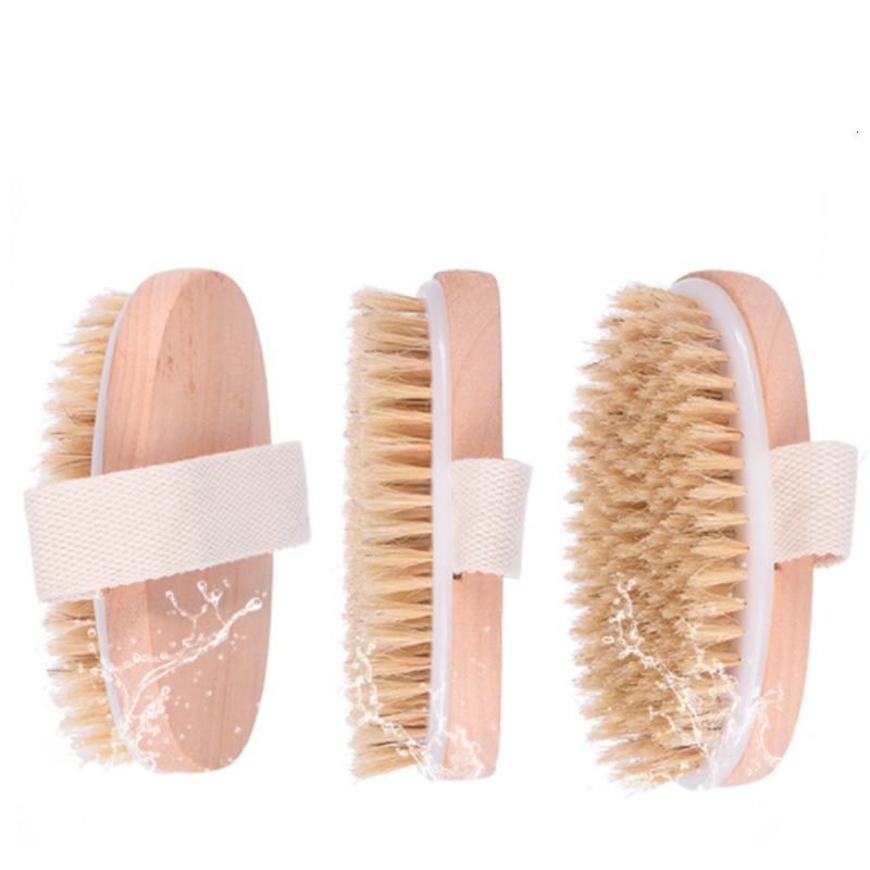New Dry Skin Body Soft Natural Bristle the Brush Wooden Shower Bristle Brush Body without Handle