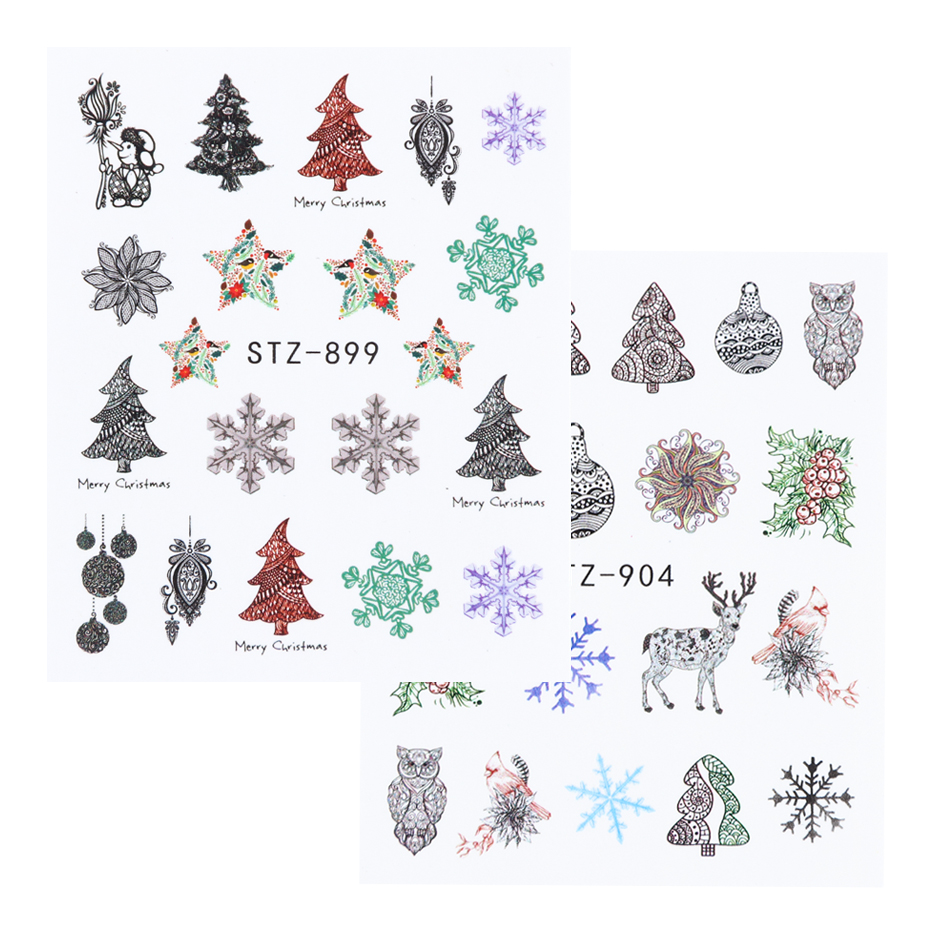 12pc Christmas Nail Art Sticker Full Wraps Set New Year Decal Winter Snowflake Snowman Elk Manicure Nail Decoration 2