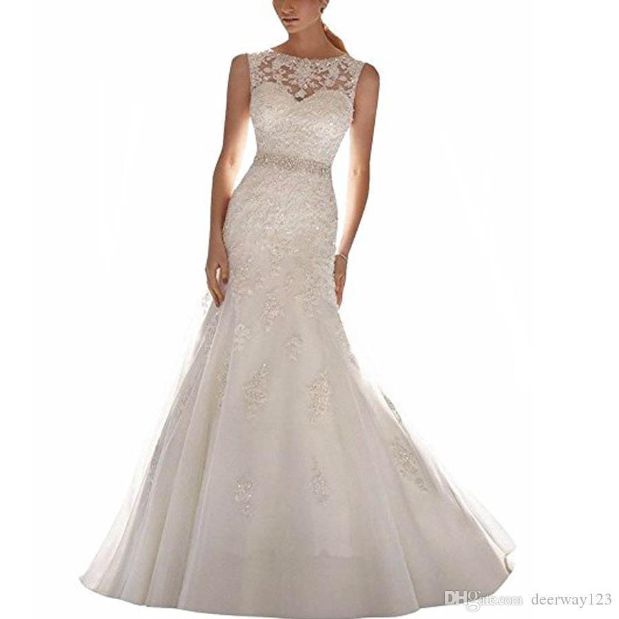 Latest Sleeveless Lace Appliques Mermaid Bridal Dress Wedding Gown Scoop Neck Lace Wedding Dress with Court Train vestidos de novia