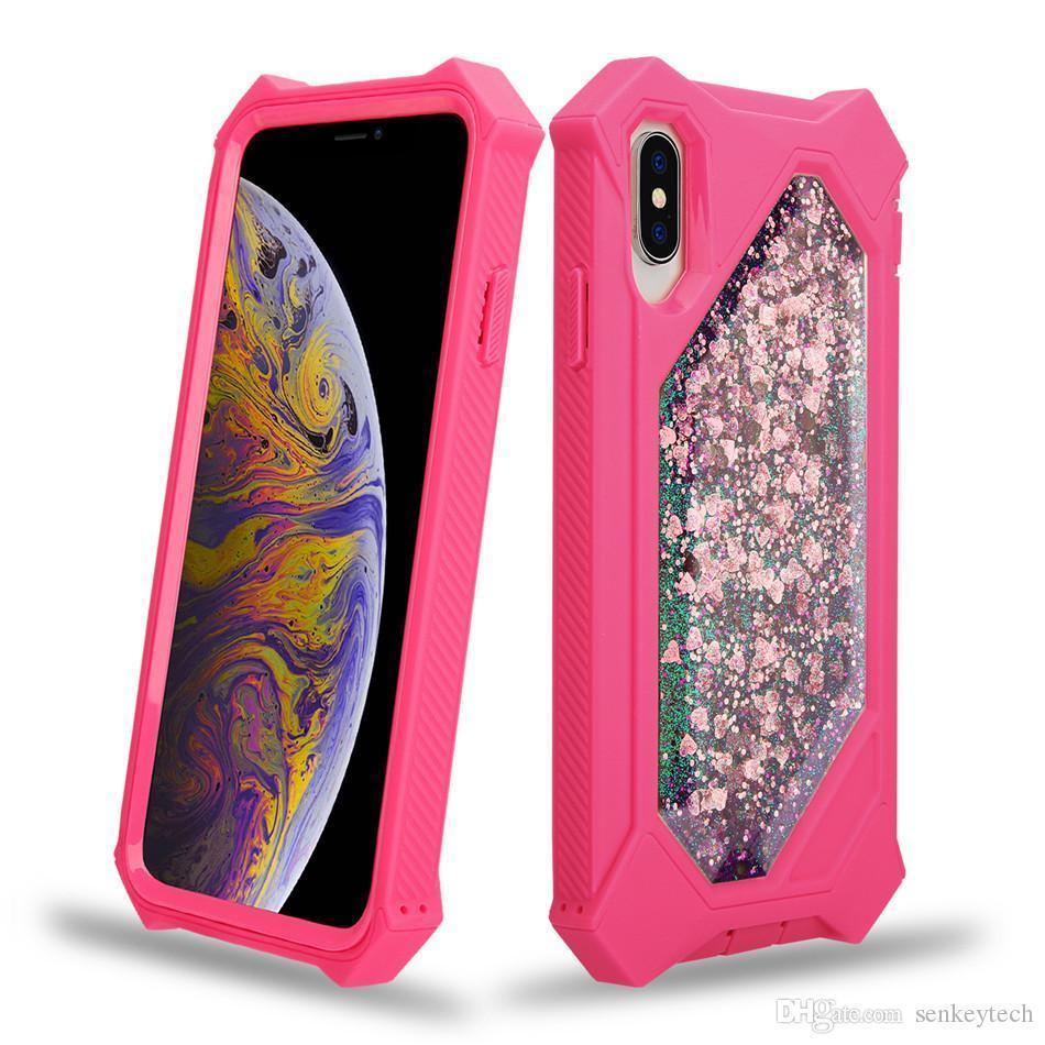 For iPhone XS Max Defender Case Glitter Liquid Quicksand Sparkle Shiny Bling Cases For iPhone XR X 6 6 s 7 8 Plus