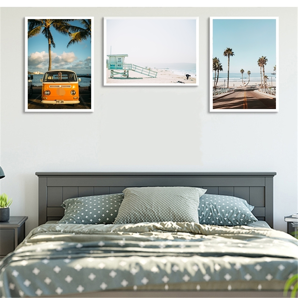 Modern-Canvas-Art-Bus-Tree-Seascape-Print-Painting-Hawaii-Vacation-Style-Wall-Picture-Living-Room-Nordic