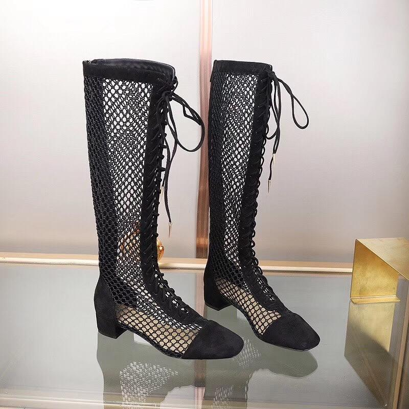 Vintage Ladies Lace Up British Biker High Block Heel Knee High Boots Size 34-43